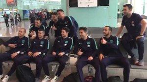 La expedición del Barça Lassa de fútbol sala ya partió hacia Almaty