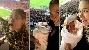 La hija de Simeone y Carla Pereira asiste a su primer partido de fútbol