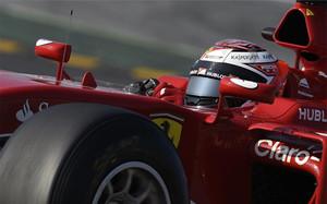 Kimi Raikkonen, con su Ferrari en Montmeló