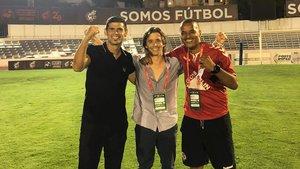 Manzanera, con Antonio Hidalgo y Juvenal celebrando el ascenso del Sabadell