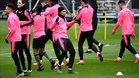 Mbappé durante el entrenamiento previo al duelo del Girondins