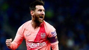 Messi celebra su gol 16 en LaLiga, ante el Getafe