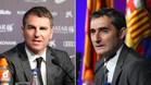 Robert Fernández y Ernesto Valverde, secretario técnico y entrenador del FC Barcelona