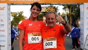 Ruth Beitia y Fermín Cacho, en una carrera popular