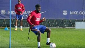 Samuel Umtiti, en un entrenamiento reciente del FC Barcelona