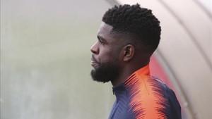 Umtiti, en un entrenamiento con el Barça