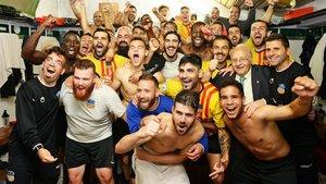 El vestuario del Sant Andreu fue una fiesta tras eliminar al Calahorra