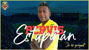 El Villarreal anunció el fichaje de Pervis Estupiñán en sus redes sociales