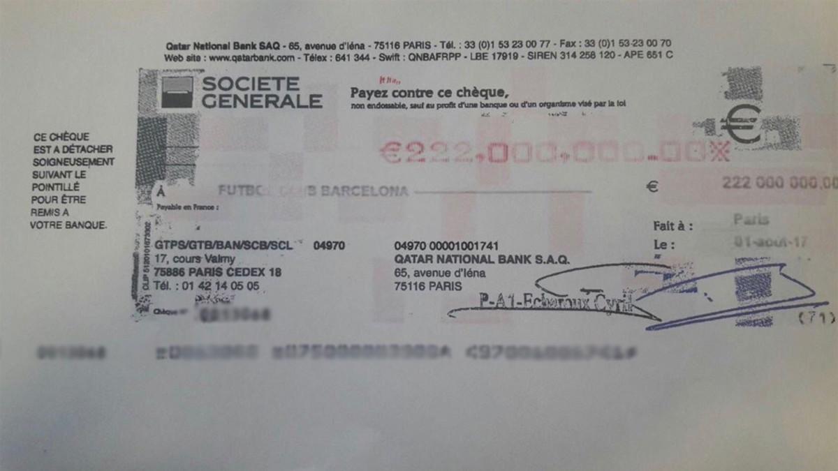 es este el cheque de los 222 millones de euros de neymar. Black Bedroom Furniture Sets. Home Design Ideas