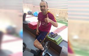 Andrés Iniesta, después de completar la sesión de trabajo