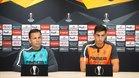 Calleja y Funes Mori, en la rueda de prensa previa al duelo del Villarreal frente al Rapid Viena.