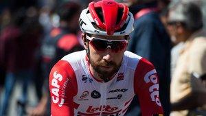 El ciclista belga, en el control de firmas de Calella