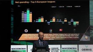 Esteve Calzada, CEO de Prime Time Sport, en la presentación del informe Football Transfer Review 2020