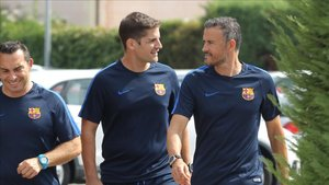 Luis Enrique, con Robert Moreno en su etapa en el Barça
