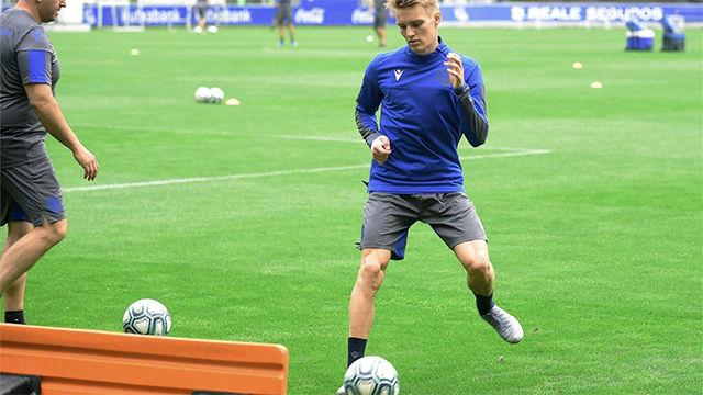 La maravilla de Odegaard en su primer entrenamiento con la Real Sociedad
