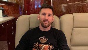 Messi ha publicado una foto en su Instagram sentado en uno de los asientos de su avión privado