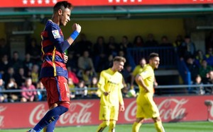Neymar celebra su gol en El Madrigal