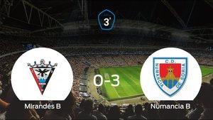 El Numancia B se lleva la victoria tras golear 0-3 al Mirandés B