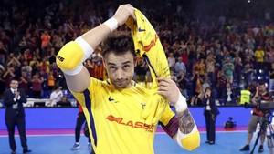 Paco Sedano jugó este martes su último partido con el FC Barcelona Lassa de fútbol sala