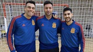 Sergio Lozano, Juanjo y Adolfo, con la selección española