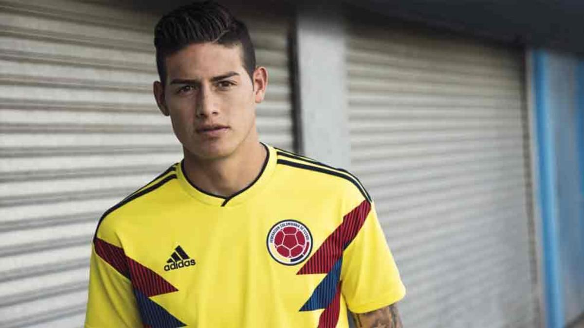 c71f9b10c05 James Rodríguez presenta la nueva camiseta de Colombia para el Mundial