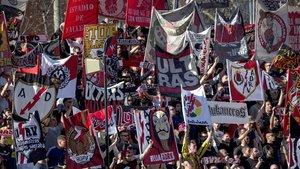 Aficionados del Rayo en el partido contra el Atlético de Madrid