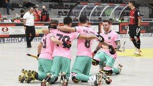 El Barça celebró la victoria en El Vendrell