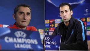 Ernesto Valverde y Sergio Busquets comparecen este martes en la rueda de prensa previa al FC Barcelona - Chelsea de Champions League