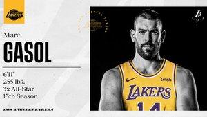 Foto de Marc Gasol que publicaron los Lakers en su Twitter