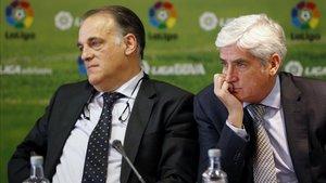 Javier Tebas junto al hasta ahora vicepresidente de LaLiga, Clemente Villaverde