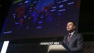 Josep Maria Bartomeu, presidente del FC Barcelona, en un momento de su intervención en el Auditorio RBA
