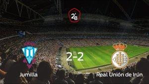 El Jumilla y la Real Unión de Irún firman un empate en la ida de los playoff de permanencia en Segunda B (2-2)