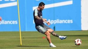 Leo Messi durante la sesión de entrenamiento de este miércoles