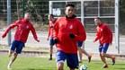 Mojica, durante el entrenamiento previo al partido ante el Barça