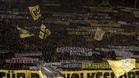Parte de la hinchada del Dortmund, el sábado, en el partido contra el Leipzig