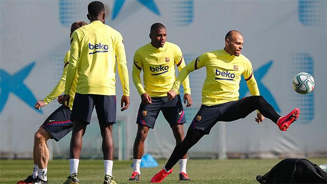 El primer entrenamiento de Braithwaite con el Barça