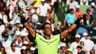 Rafa Nadal celebra su pase a los cuartos de final de Miami por primera vez en tres años