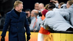 Ronald Koeman festeja el gol frente a Alemania que clasificó a Holanda para la Final Four de la Nations League