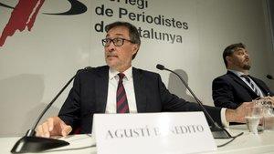 Agustí Benedito, durante su rueda de prensa este martes en el Col·legi de Periodistes