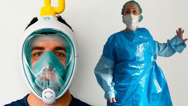 Batas improvisadas, gafas de buceo... Los sanitarios se ven obligados a hacer su propio material de protección