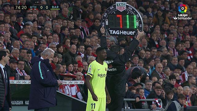 Dembélé reapareció tras su lesión ante el Athletic