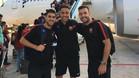 Dídac, Aicardo y Adolfo, a punto de tomar el vuelo en El Prat