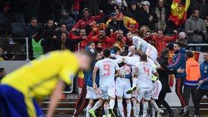 España celebra el gol