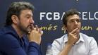 Guillermo Amor y Jose Maria Bakero, responsables del futbol formativo del Barcelona