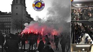 Imágenes del grupo de radicales seguidores del FC Barcelona en Lyon el pasado martes