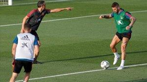 Luis Enrique y Ramos, en un entrenamiento de la selección