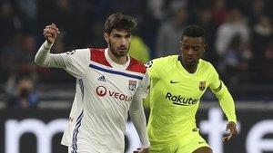Nelson Semedo completó un partido muy serio en Lyon