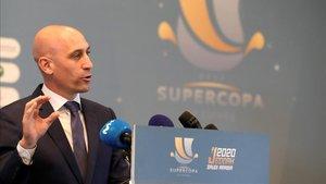 El presidente de la Real Federación Española de Fútbol (RFEF), Luis Rubiales, durante un acto de la Federación
