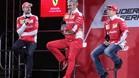 Sebastian Vettel, Kimmi Raikkonen y Mauricio Arrivabene