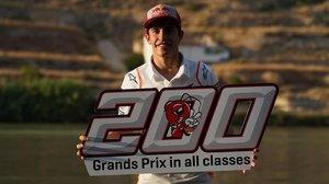 Marc Márquez (Honda) celebra, en Motorland (Aragón) su GP nº 200.